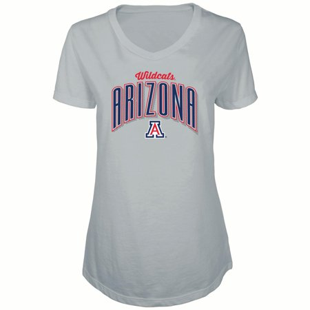 Women's Russell Heathered Gray Arizona Wildcats Tunic Cap Sleeve V-Neck T-Shirt - Arizona Wildcats Baseball