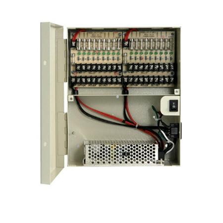 DV-AT1215A-D10 UL List 18-Port Fused Output 12V DC18 Amp CCTV Power Supply Box