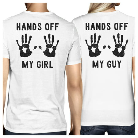 Hands Off My Girl And My Guy White Cute Matching Couples Tee - Cute Guy And Girl Halloween Costumes