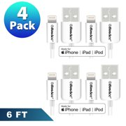 iPhone Charger Cable by BasAcc 4-pack 6' Lightning to USB Cable (Apple MFi Certified) for iPhone 7 6 Plus 6s SE 5 5s 5c iPad 5 4 Pro Air 2 1 Mini iPod Touch 5th 6th Sync and Charge Charger 8-Pin White