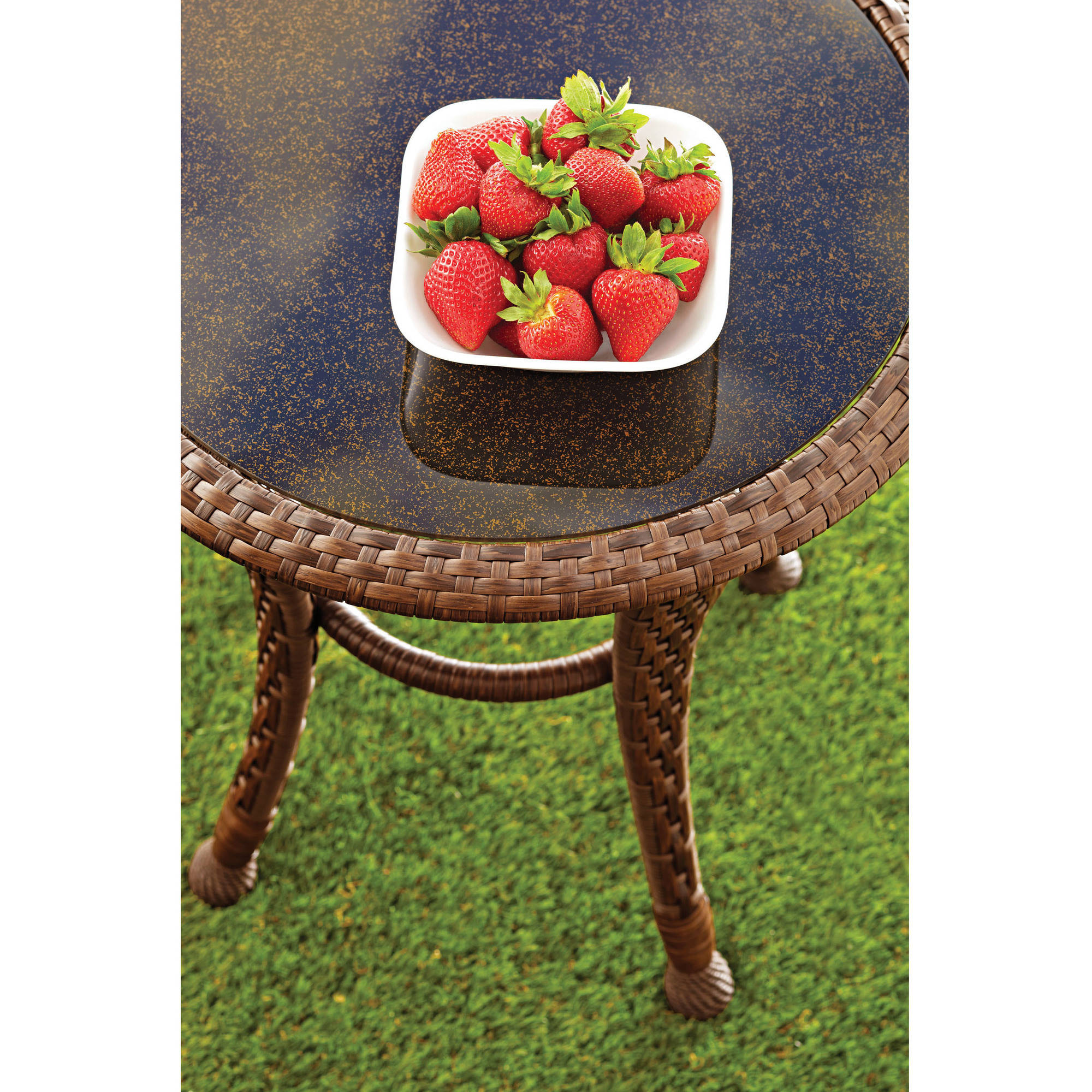 Side Table Outdoor Patio Accent Furniture Deck Garden All Weather - All weather wicker side table
