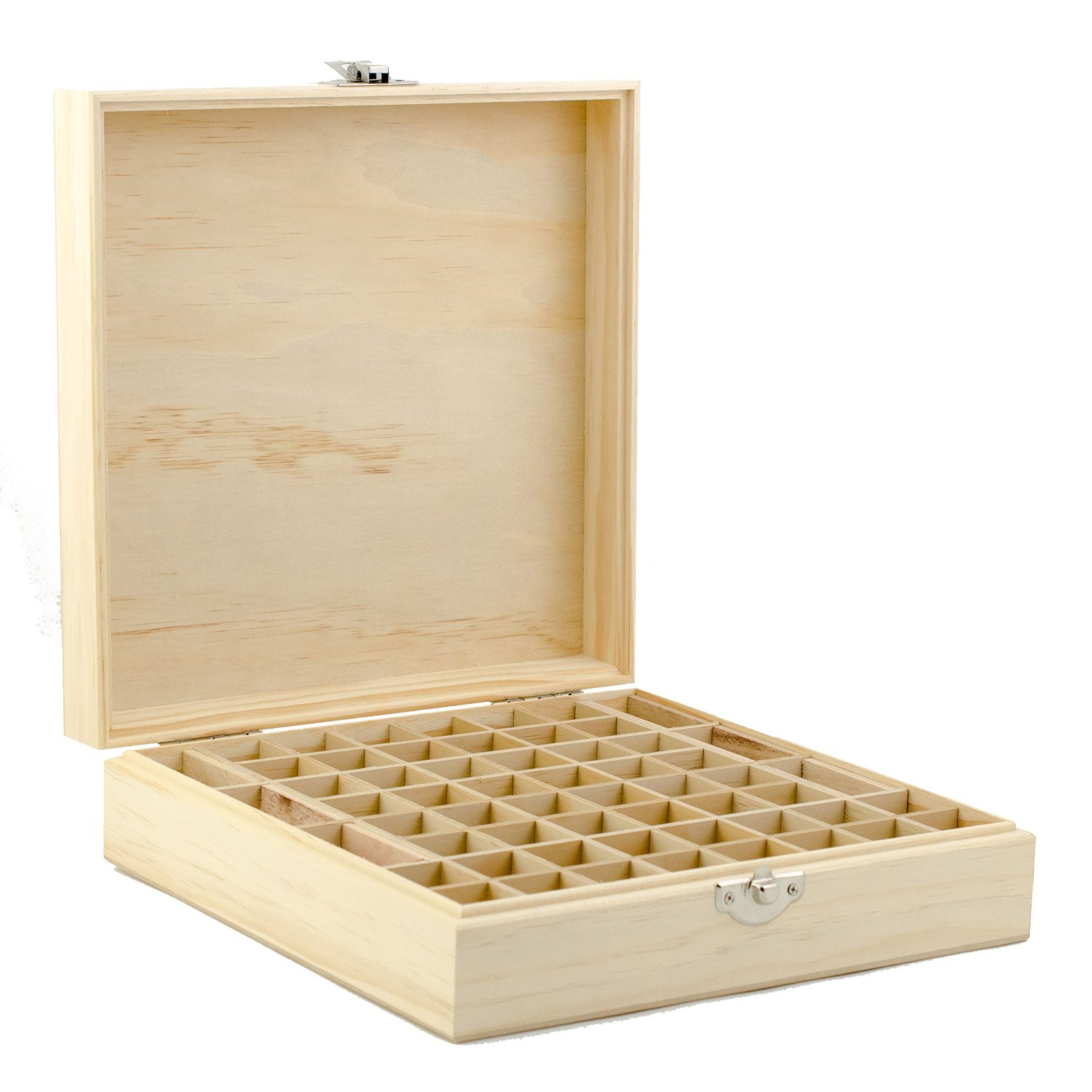 Wooden Essential Oil Box - Holds 52 (5-15 ml) & 6 (10ml Roll-On) Essential Oil Bottles - Perfect Essential Oils Case for Presentations - Protects Your Oils From Damaging Sunlight