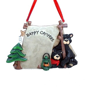 "Flatback ""Happy Campers"" Two Black Bears In Tent Ornament"