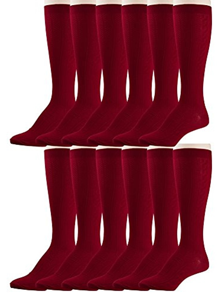 12 Pairs of excell Girls Fancy Cable Knit Knee High Socks, Solid Colors, Uniform Socks (Black, 7-8.5)
