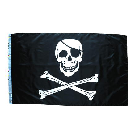 3x5 Foot Pirate Flag Double Stitched Jolly Roger Flag with Brass Grommets   3 by 5 Foot Premium Indoor Outdoor Polyester (5 Outdoor Indoor Banner)