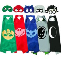 Party Pretend PJ Masks Costumes for Kids Compatible Superhero Capes and Mask Dress up for Kids (5 Masks and 5 Capes)