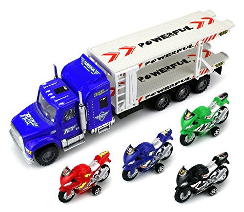 Moto Transport Trailer Children's Friction Toy Semi Truck Ready To Run 1:32 Scale w  4 Toy... by Velocity Toys