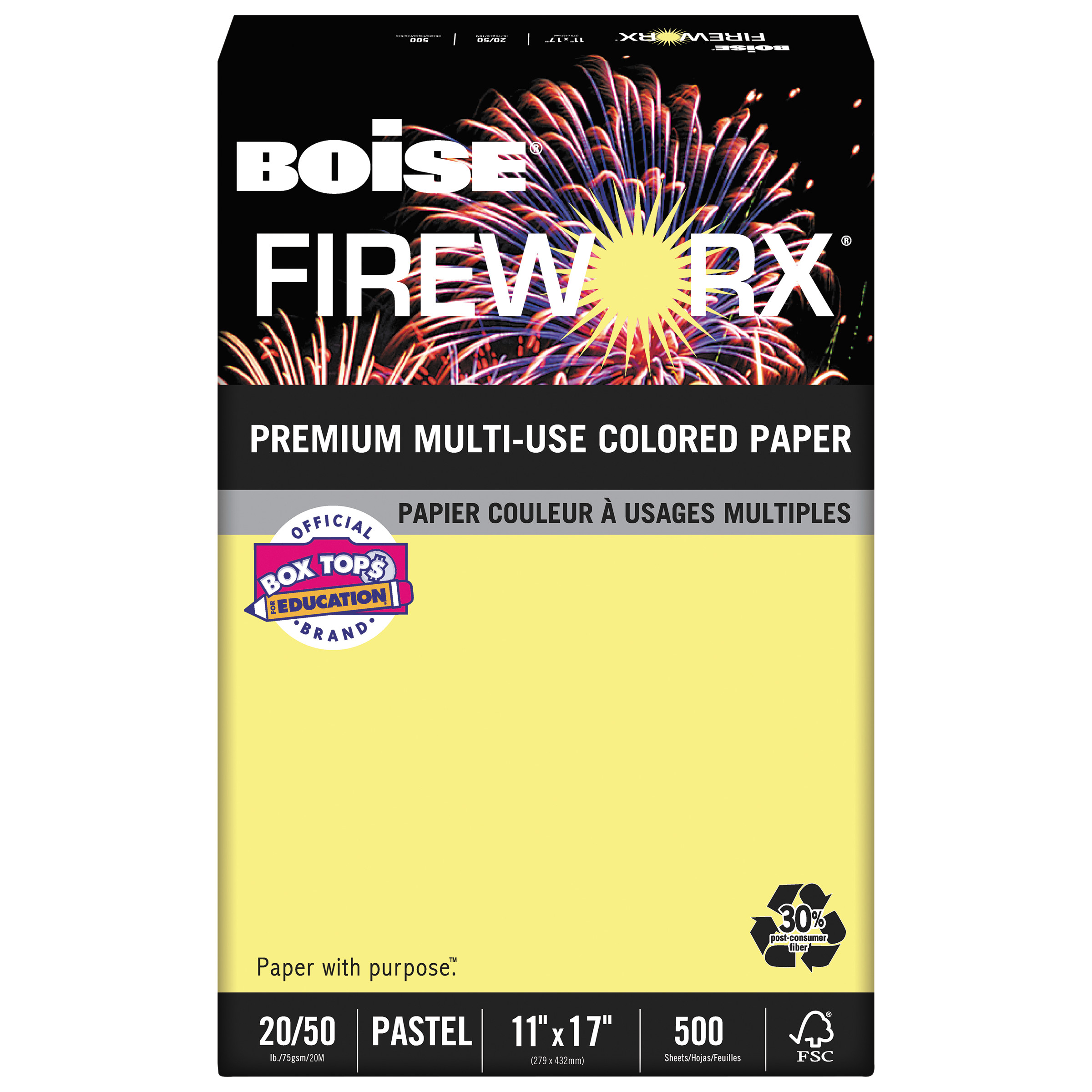 Boise FIREWORX Colored Paper, 20lb, 11 x 17, Crackling Canary, 500 Sheets/Ream -CASMP2207CY