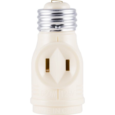 GE 2-Outlet Polarized Light Socket Adapter, Ivory - 54178