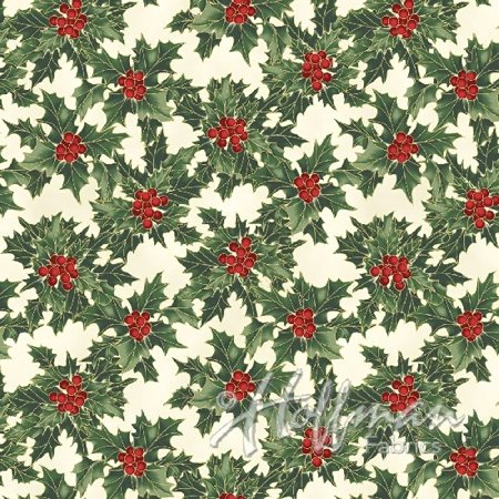 Clearance Sale~Cardinal Carols~Holly & Berries-Natural/Gold Christmas Cotton Fabric by Hoffman](Christmas Fabric)