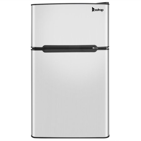 Ktaxon 3.2 Cu Ft Two Door Compact Refrigerator Mini Freezer with Removable Glass Shelf