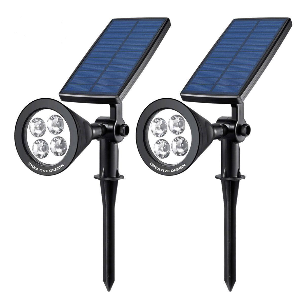 Solar Lights, CREATIVE DESIGN Solar Spotlight, Outdoor Garden Landscape Lighting, 350° Angle Adjustable Waterproof Wall Light Security Light with Auto On/Off (Black)(2 PCS Pack)
