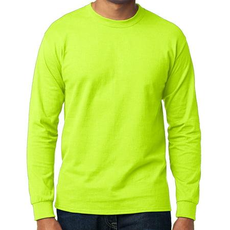 Men's High Visibility Long Sleeve T-shirt - Neon Green, Small (Halo T Shirt Small)