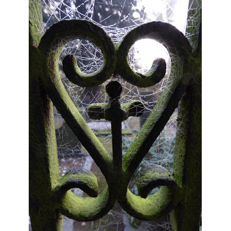Canvas Print Heart Old Dew Foggy Cemetery Spider Web Fence Stretched Canvas 10 x 14](Halloween Cemetery Fence For Sale)