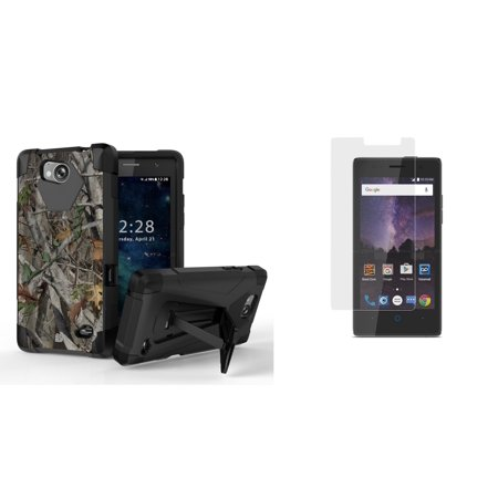 designer fashion 44d56 93e64 ZTE Majesty Pro LTE / Majesty Pro Plus - Bundle: Slim Shockproof Rugged  Kickstand Case - (Real Tree Camo), Tempered Glass Screen Protector Crystal  ...