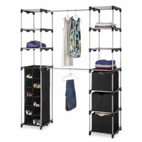 "Whitmor Deluxe Double Rod Adjustable Closet Organization System - Silver & Black - 19.5"" x 52.75"" x 80.125"""
