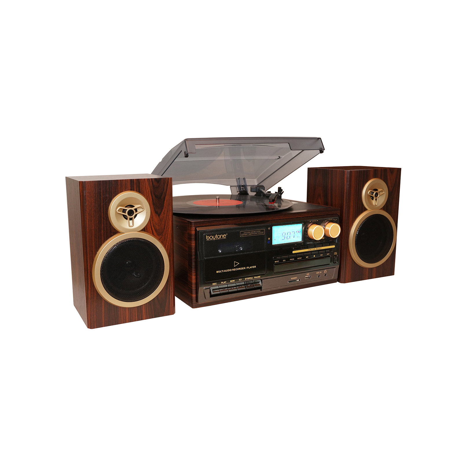 Boytone 28-Series Mahogany Classic BT Turntable System
