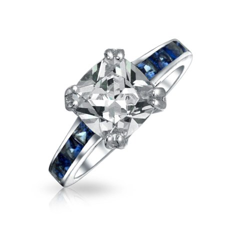 Channel Set Band Engagement Ring (Art Deco Style 3CT Square Cushion Cut AAA CZ Engagement Ring Simulated Sapphire Blue Channel Set Band Sterling Silver)