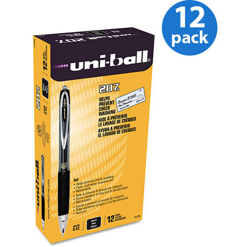 Uni-ball Signo Gel 207 Roller Ball Retractable Gel Pen, Micro Fine, Dozen