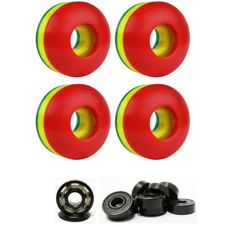 Skateboard Wheels 102A 50mm Rasta Tri-Color with HYBRID CERAMIC BEARINGS (Ceramic Inline Skate Bearings)
