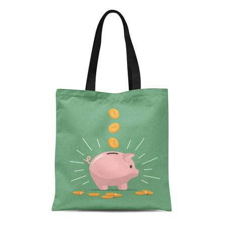 KDAGR Canvas Tote Bag Pink Piggy Bank Falling Coins Saving Money Open Deposit Reusable Shoulder Grocery Shopping Bags Handbag ()
