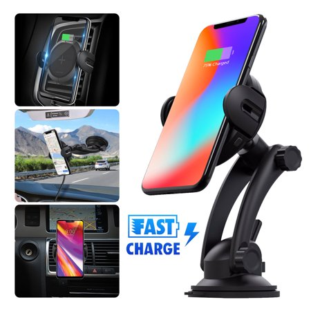 EEEKit Wireless Car Charger, Auto Clamping 15W Qi Fast Charging Car Phone Windshield Holder Air Vent Mount Cradle with IR Sensor Compatible with iPhone Samsung Galaxy and More