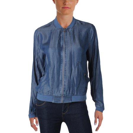 Alison Andrews Womens Denim Long Sleeves Bomber Jacket ()