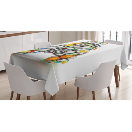 Letter A Tablecloth, Sports Balls Stacked to Build the First Letter of the Alphabet Capital A Symbol, Rectangular Table Cover for Dining Room Kitchen, 60 X 84 Inches, Multicolor, by Ambesonne - Sofia The First Table Cloth