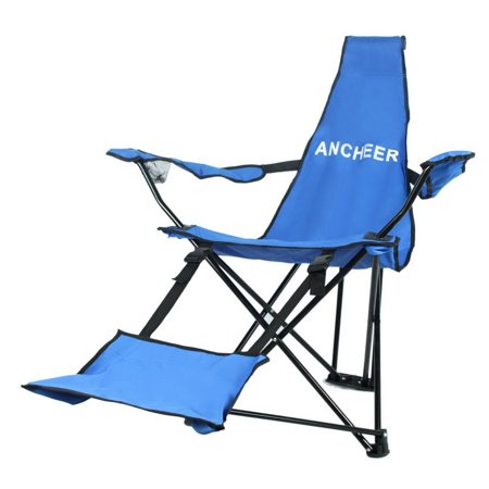 Ancheer Outdoor Portable Folding Chair Camping Hiking Fishing Beach Recliner Tripod With Backrest