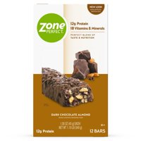 ZonePerfect Protein Bars, Dark Chocolate Almond, 12g of Protein, Nutrition Bars With Vitamins & Minerals, Great Taste Guaranteed, 12 Bars