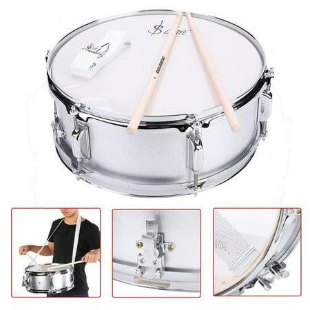 Beginner Drum,Snare Drum,Ymiko Stainless Steel Snare Drum Beginner Kit with Bag Drumstick Strap Silencer Mute