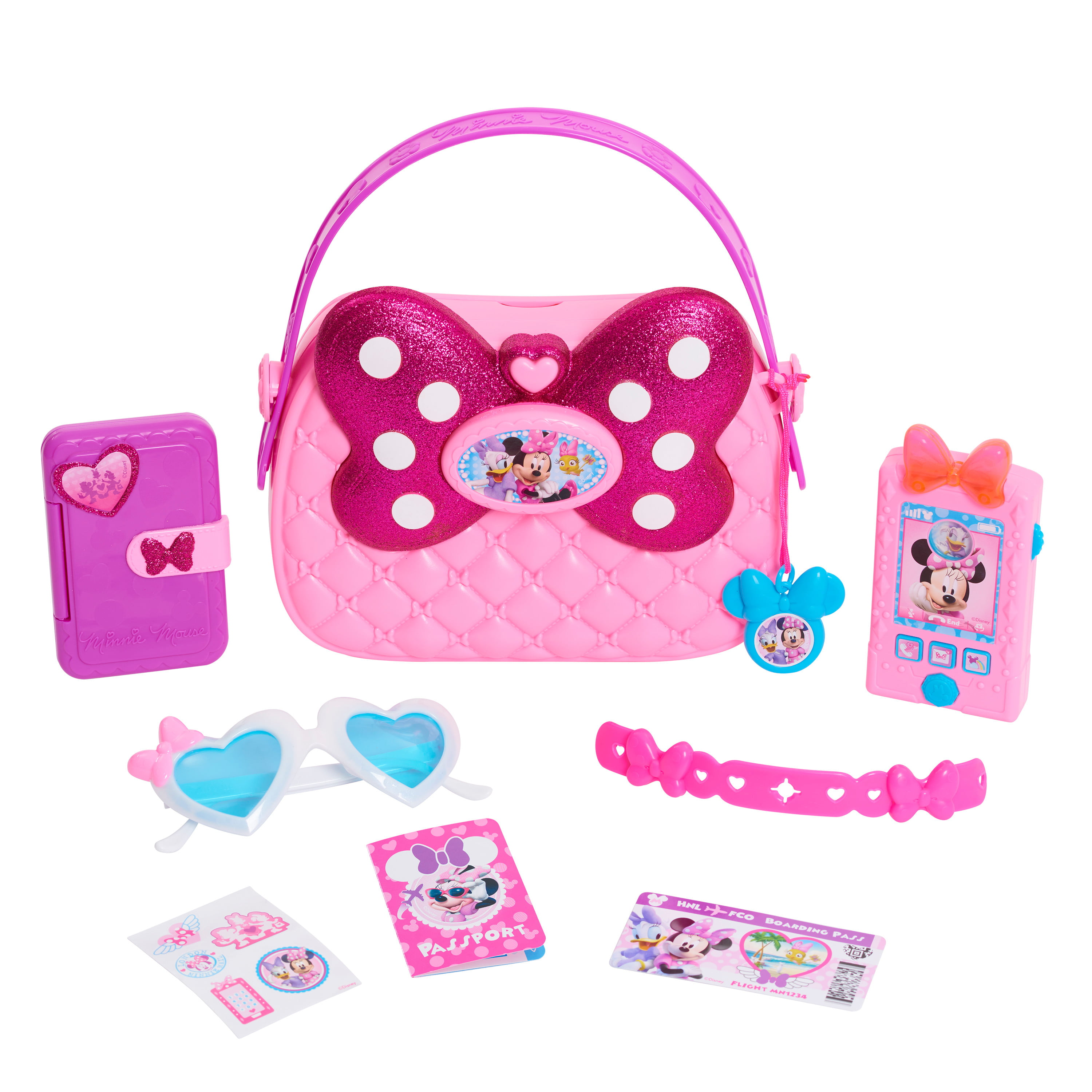 Disney Junior Minnie Happy Helpers Bag Set, 9 Piece Pretend Play Purse with Lights and Sounds Cell Phone, Sunglasses, and Accessories, By Just Play