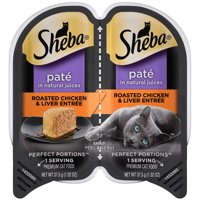 SHEBA Wet Cat Food Pate, Roasted Chicken & Liver Entree, 2.6 oz. PERFECT PORTIONS Twin Pack Tray