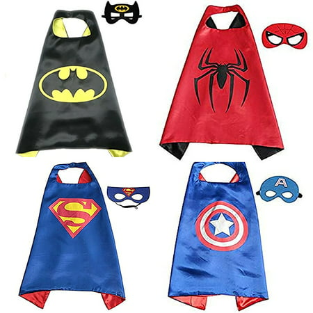 【Best Gift for Birthday Party】Superhero Costumes Toddlers Kids 4Pcs Capes and Masks For Boys