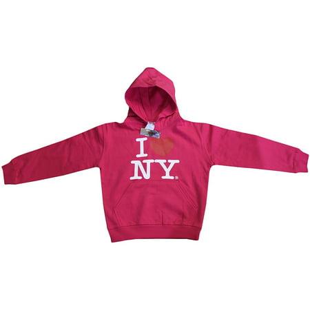 Ny Kids Hoodie - I Love NY New York Kids Hoodie Screen Print Heart Sweatshirt Hot Pink Medium (10-12)