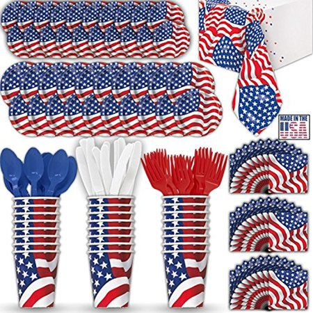 American Flag Paper Dinnerware for 24 - 2 Size Plates, Cups, Napkins , Cutlery (Spoons, Forks, Knives), and tablecovers - Full Patriotic Party Supply Pack