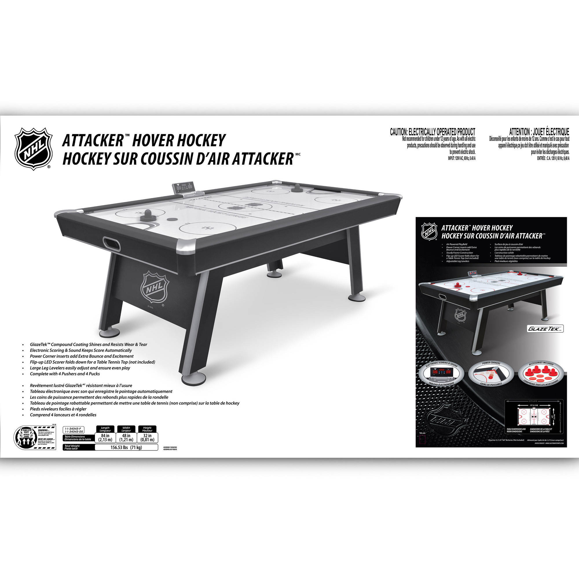 NHL 84 Inch Premium Attacker Hover Air Hockey Table   Walmart.com