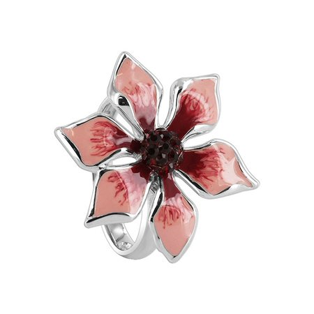 Gem Avenue 925 Sterling Silver Flower Pink and Red Enamel with Garnet Color Cubic Zirconia Ring
