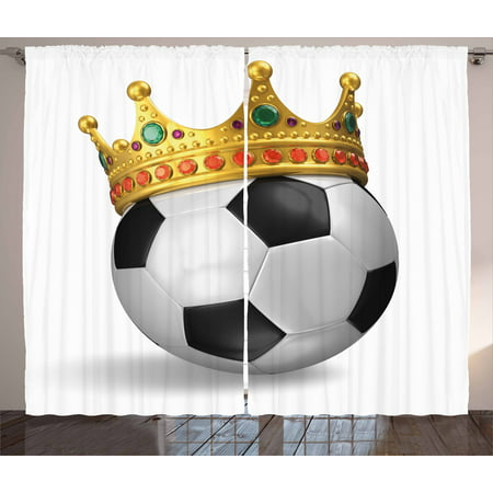 King Curtains 2 Panels Set, Football Soccer Championship Inspired Ball Crown with Ornaments Image Print, Window Drapes for Living Room Bedroom, 108W X 90L Inches, Black White and Gold, by Ambesonne