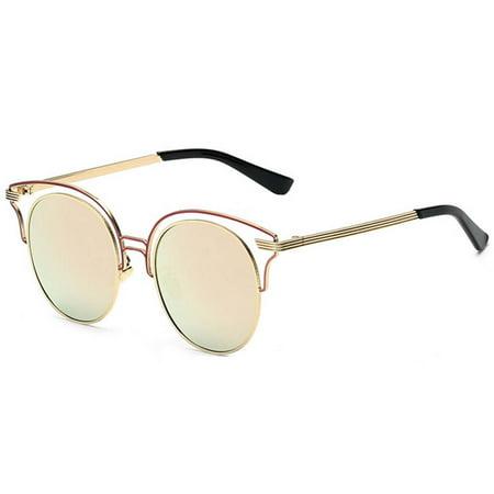 44ab6186b OWL - OWL Eyewear Sunglasses 86042 C4 Women's Metal Round Fashion Gold Frame  Fire Mirror Lens - Walmart.com