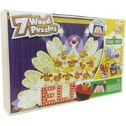 Sesame Street 7 Wood Jigsaw Puzzles in Wood Storage Box