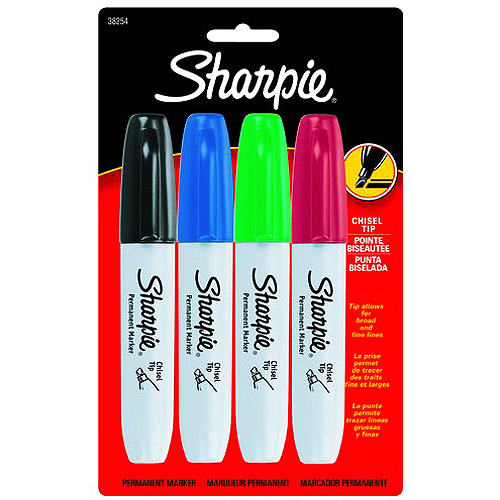 Sharpie Chisel Tip Permanent Markers 4 Count Assorted Colors
