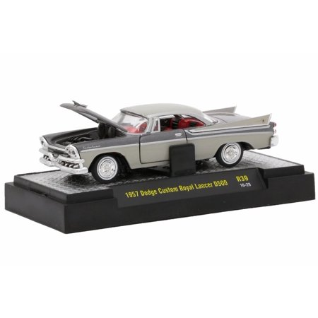 1957 Dodge Custom Royal Lancer D500, Gunmetal Beige & Gray - Castline M2 32500-39 - 1/64 Scale Diecast Model Toy Car