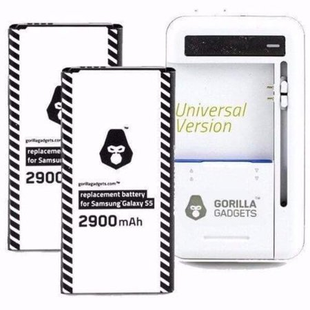 Samsung Galaxy S5 Battery Charger Kit Includes Two Standard Replacement S5 Battery and FREE Universal External Battery