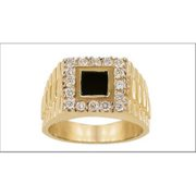 Sindbad Jewelry MR0107-Y-10 10 Kt Square Yellow Gold Men CZ Ring, Size 10