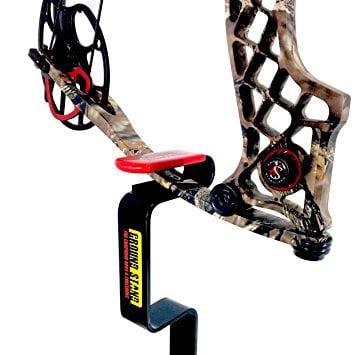 My Ground Buddy - Ground Blind Bow Holder | Hunting Blind Bow Holder | Solid Steel Compound Bow Stand | Target Shooting (Black/Red, Original)