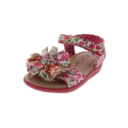 Floral Girls Sandals (Girls Ditsy Floral Printed Open Toe Flat Sandals)