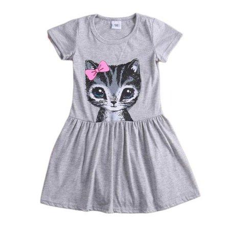 Girls Coat Dress (Kids Baby Girl Cartoon Cat Print Short Sleeve Shirt Dress Cotton)
