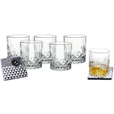 Set of 6 Crystal Double Old-Fashioned Highball Water Glasses Heavy Base Barware 8oz Drinking Glasses Set