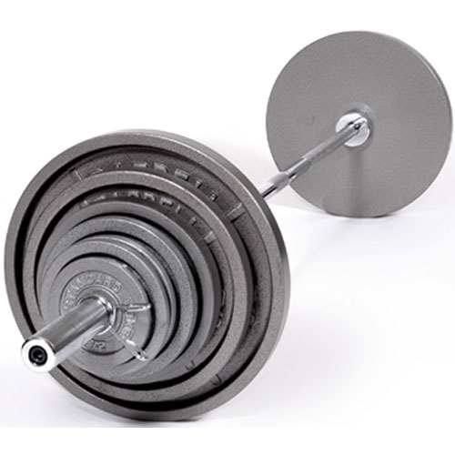 USA Sports by Troy Barbell 300 lb. Olympic Gray Weight Set with Chrome Bar